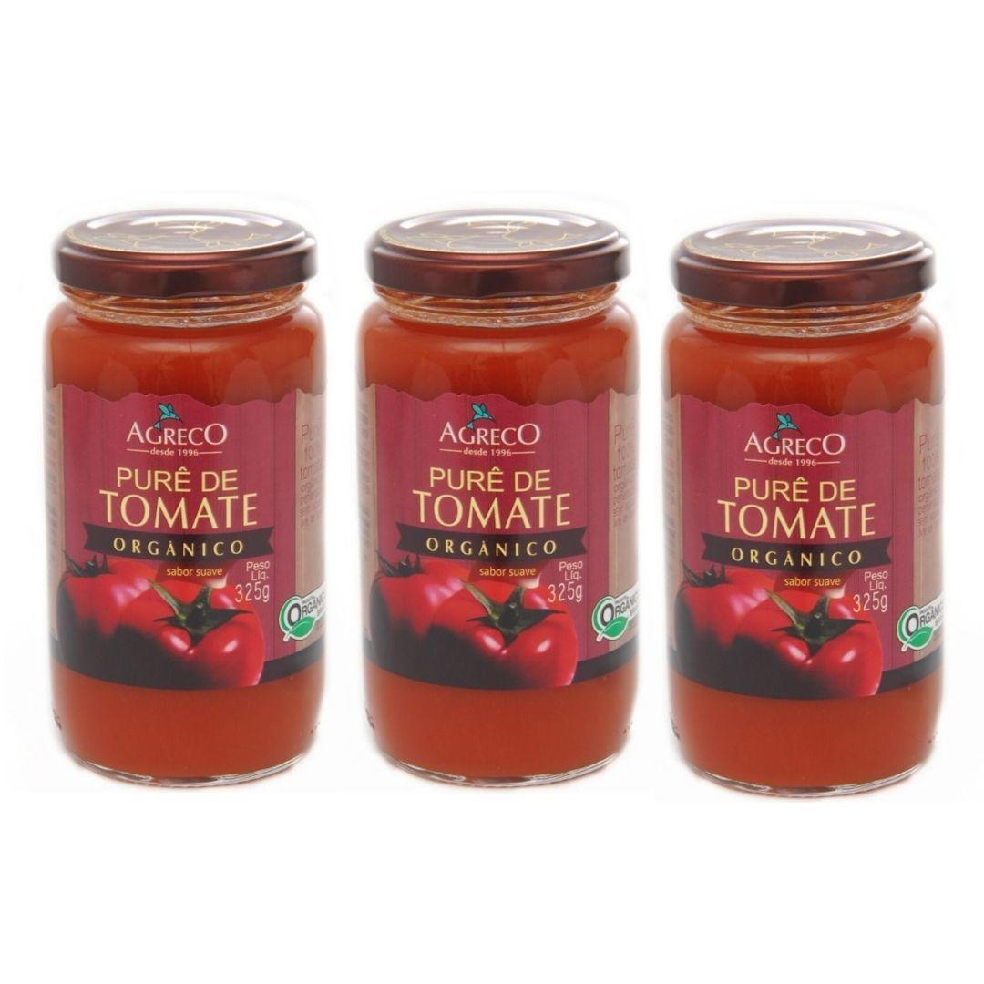 Purê de Tomate Orgânico Agreco 325g Kit com 3