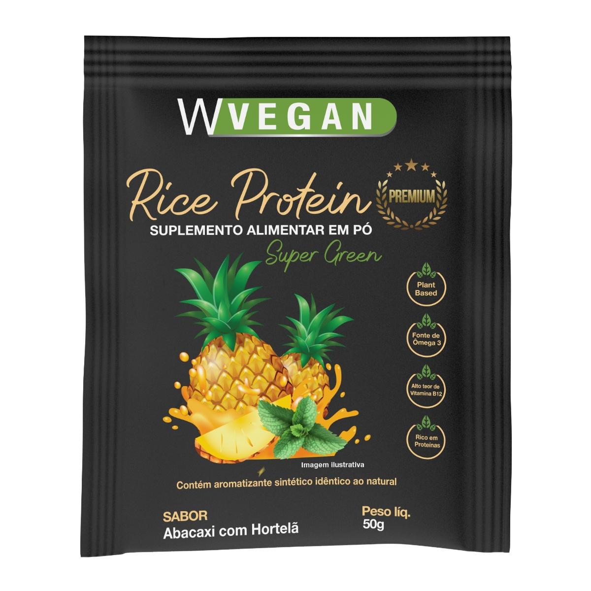Rice Protein Premium 50g Sache Sabor Abacaxi com Hortela WVegan