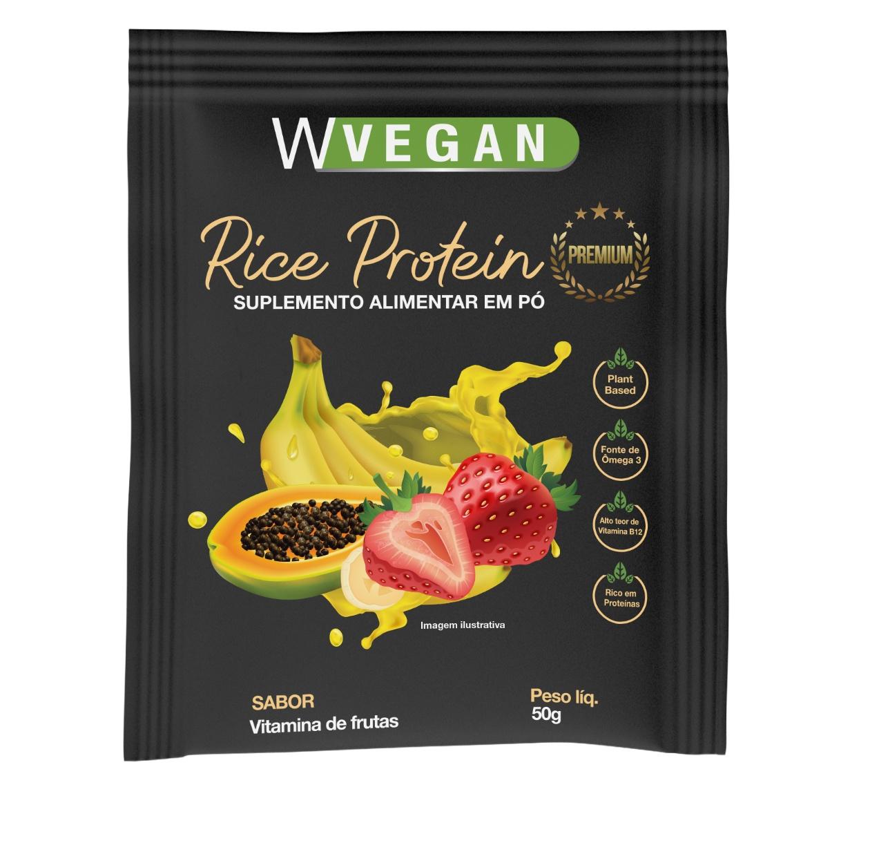 Rice Protein Premium 50g Sache Sabor Vitamina de Frutas WVegan