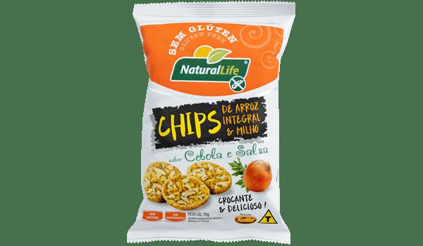 Salgadinho chips de arroz integral e milho sabor cebola e salsa Natural Life 70g