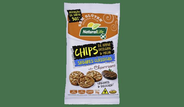 Salgadinho chips de arroz integral e milho sabor churrasco Natural Life 70g