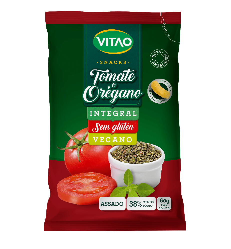 Salgadinho integral tomate e orégano Vitao 60g