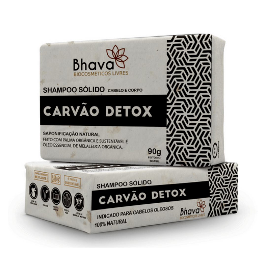 Shampoo Solido Carvão Detox Bhava 90gr