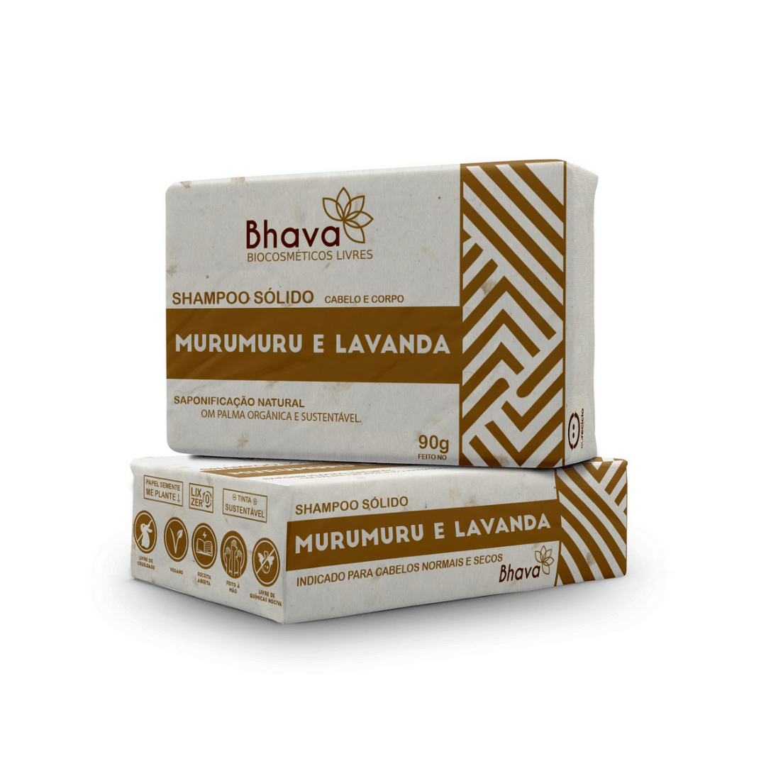Shampoo Sólido Lavanda e Murumuru Bhava 90g
