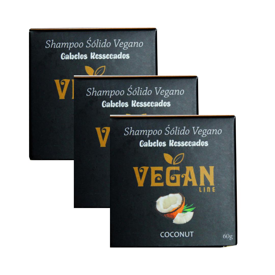 Shampoo Sólido Vegano Coco e Karité Vegan Line Kit com 3