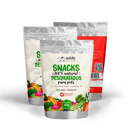Snacks de Fígado Bovino Aulife 40g Kit com 3