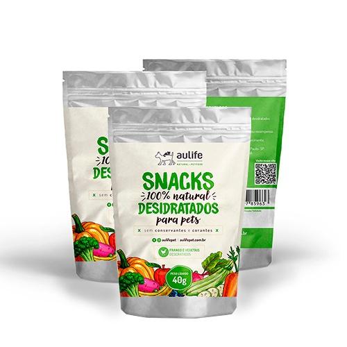 Snacks de Frangos e Vegetais Aulife 40g Kit com 3