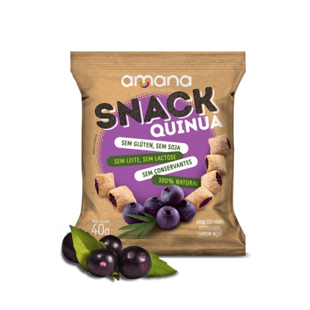 Snack de Quinua Sem Glúten Recheio de Açaí Amana 40g