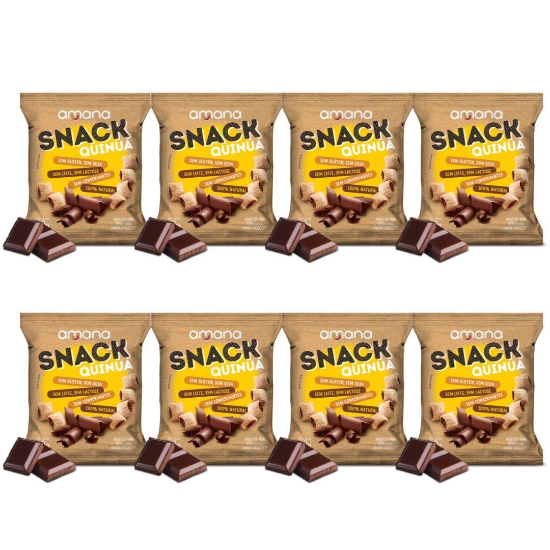 Snack de Quinua Sem Glúten Recheio de Chocolate40g Kit com 8