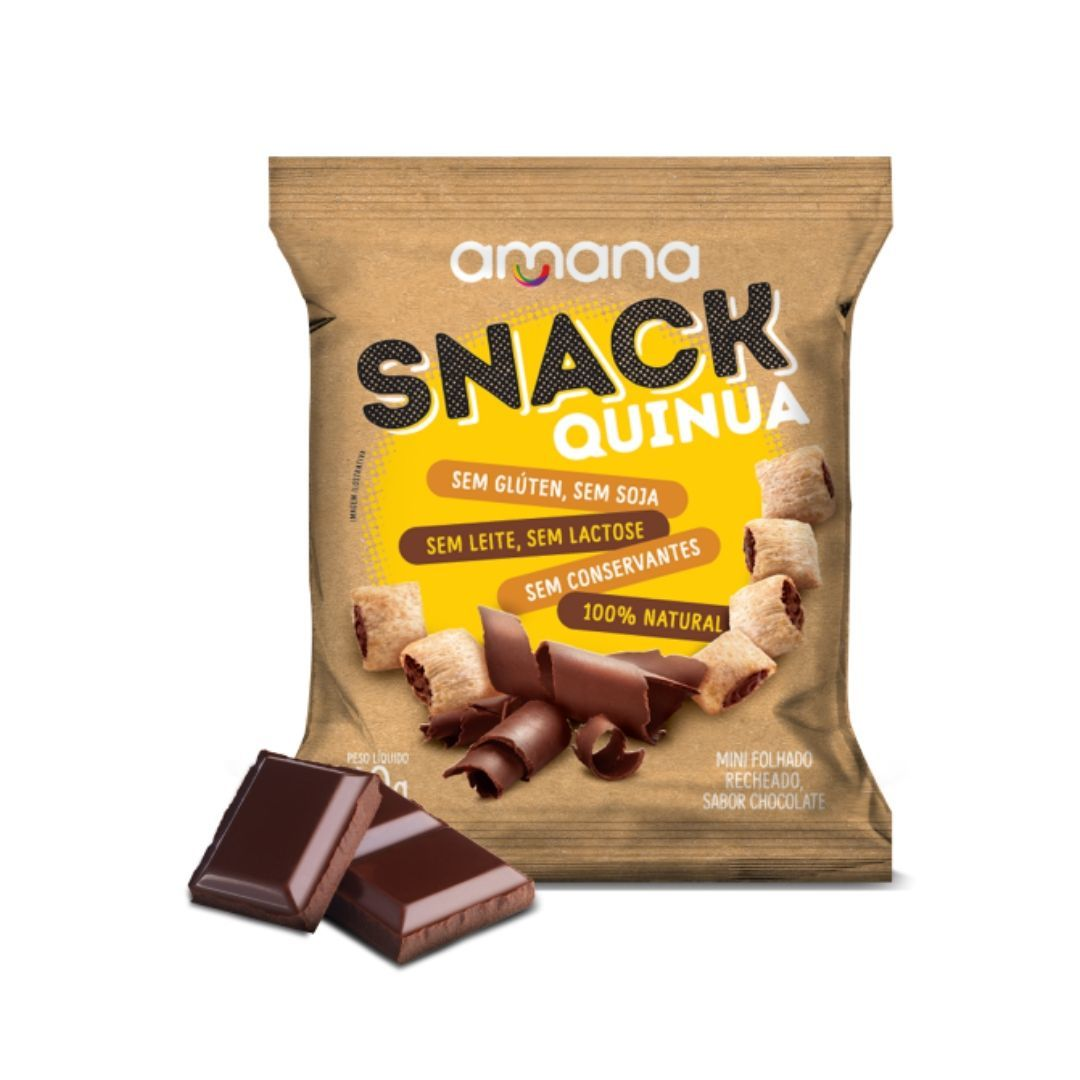 Snack de Quinua Sem Glúten Recheio de Chocolate Amana 40g