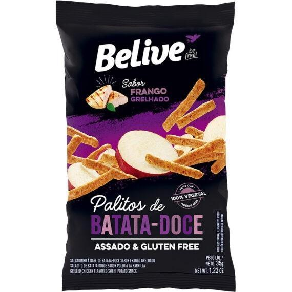 Snacks de batata doce sabor frango grelhado Belive 35g