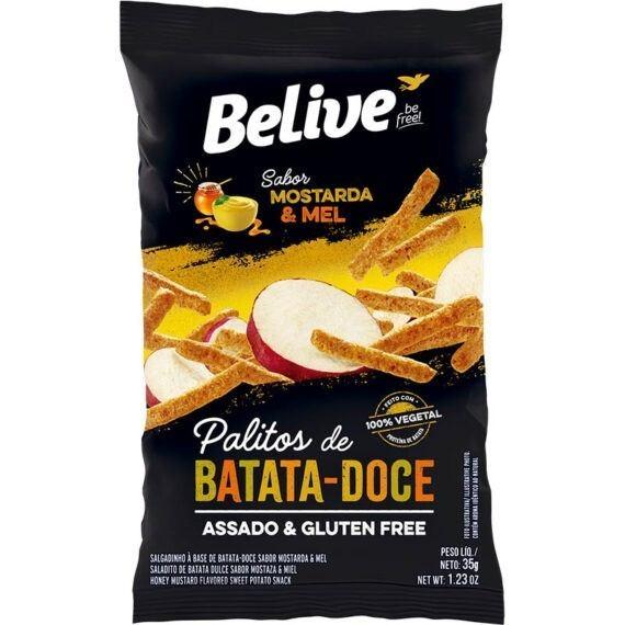 Snacks de batata doce sabor mostarda e mel Belive 35g