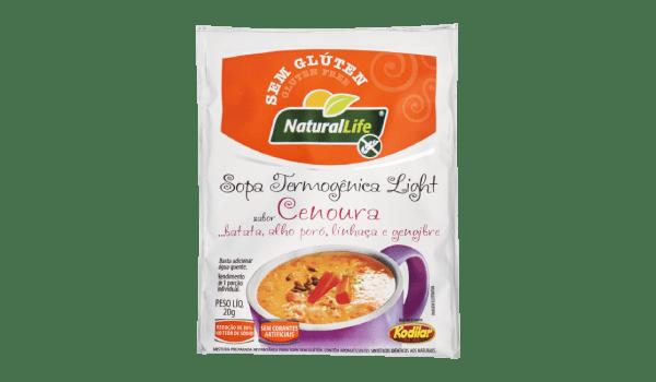 Sopa termogênica sabor cenoura, batata, alho poró, linhaça e gengibre Natural Life 20g