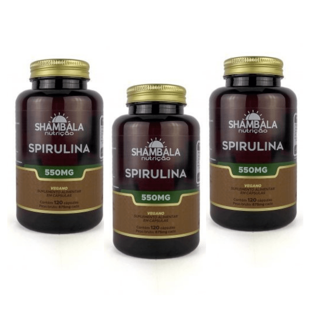Spirulina 120 Caps x 550mg Shambala Kit com 3