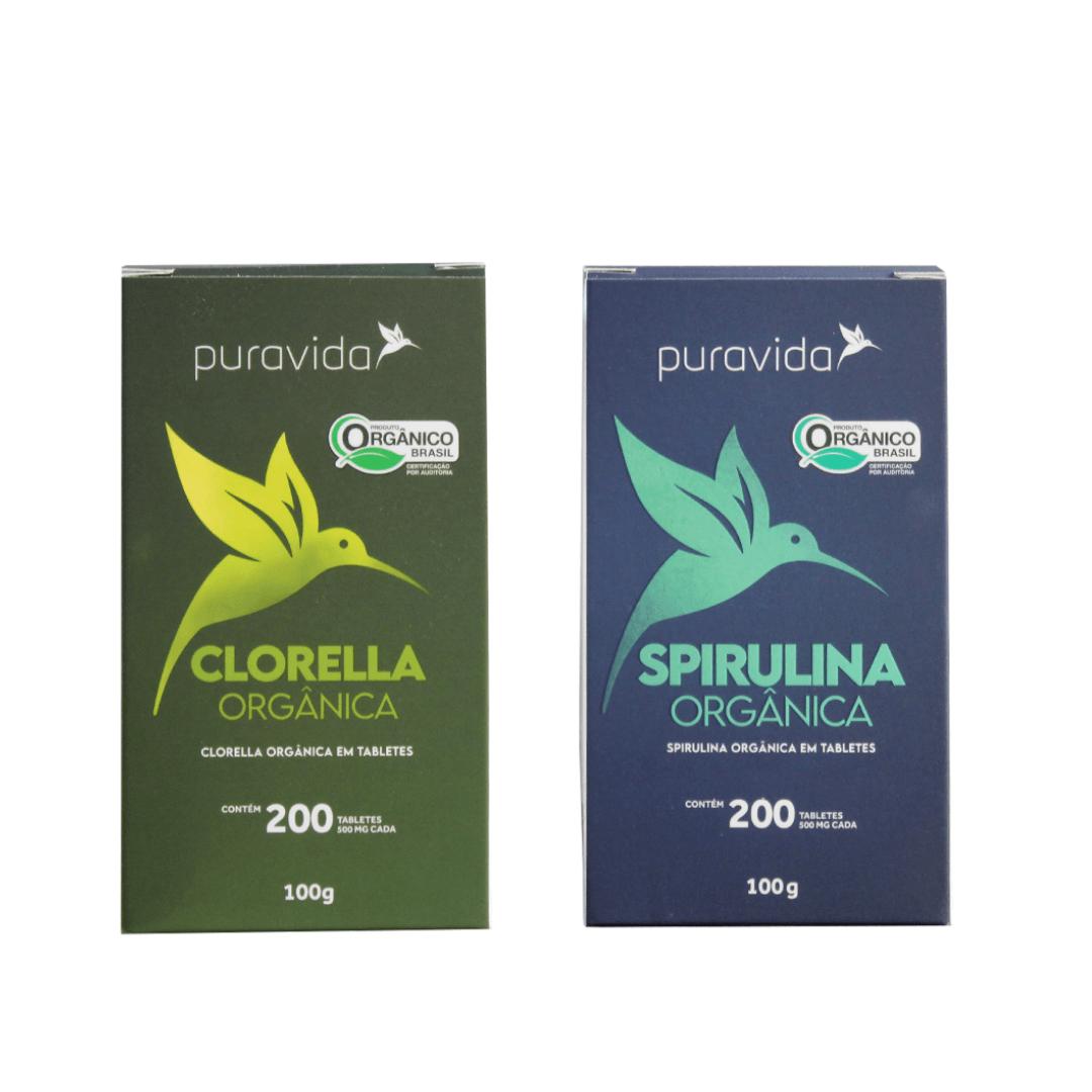 Spirulina e Clorella Orgânica em Tabletes Pura Vida - 200 tabletes Kit