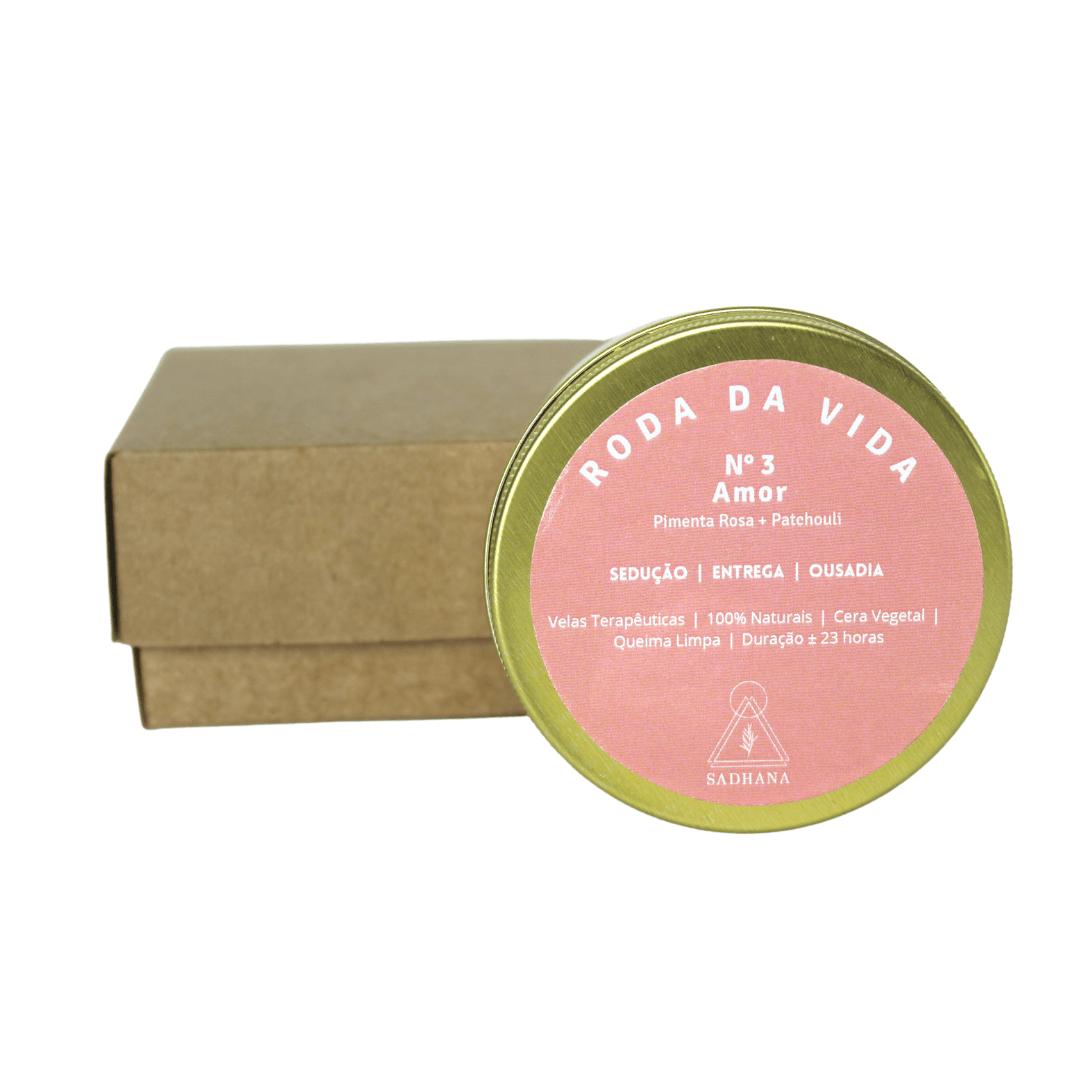 Vela Terapêutica Amor Lata - Pimenta Rosa + Patchouli - 90g Sadhana