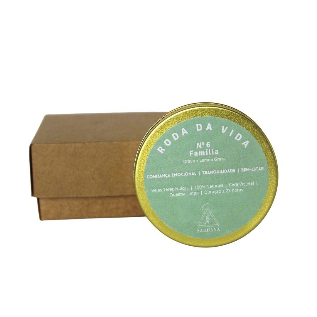 Vela Terapêutica Família Lata - Cravo + LemonGrass - 90g Sadhana