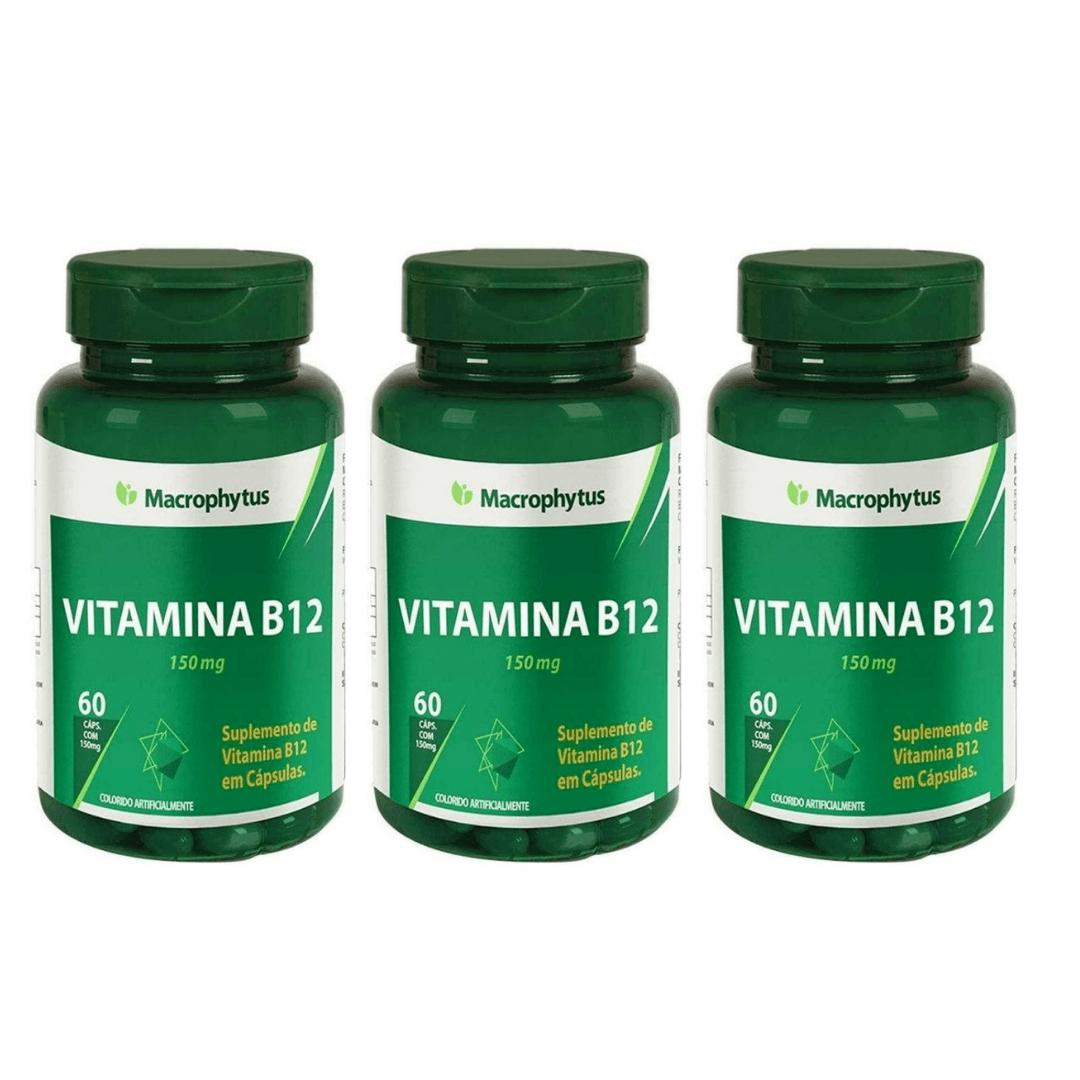 Vitamina B12 Macrophytus 60 Capsulas X 150mg Kit com 3