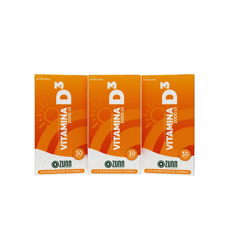 Vitamina D3 2000 UI - 60 cápsulas KIT 3 UNIDADES