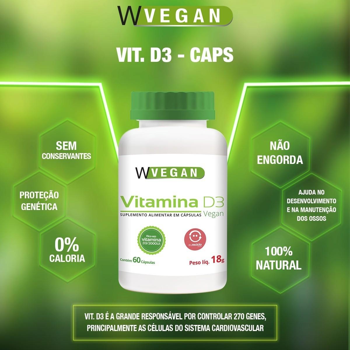 Vitamina D3 5mcg 200 UI 60 capsulas WVegan