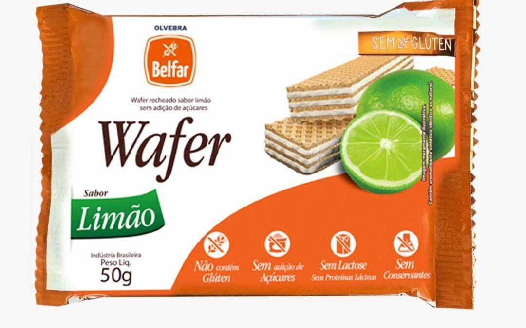 Wafer recheado sabor limão Belfar 50g