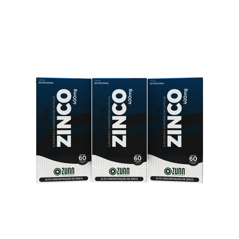 Zinco Quelato 29.59mg - 60 cápsulas KIT 3 UNIDADES