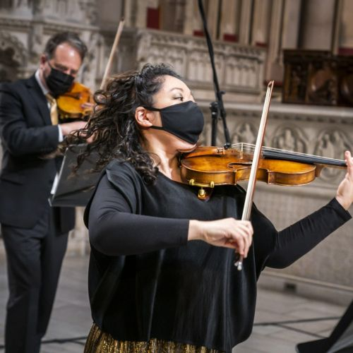 Orpheus violinists in Riverside Church photo by Chris Lee