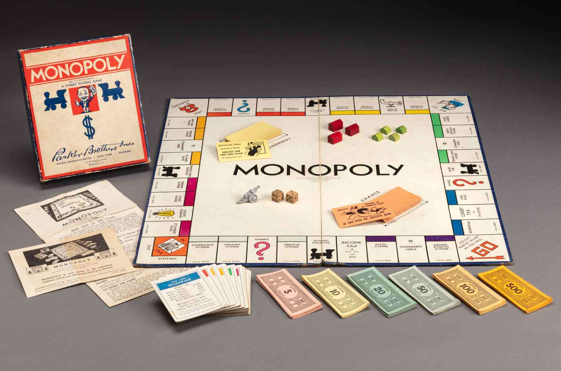 Monopoly, about 1940. Paper, paperboard, woodBox, closed. Gift of the North Shore Children's Hospital Thrift Shop. ©2020 Peabody Essex Museum, Photograph by Kathy Tarantola