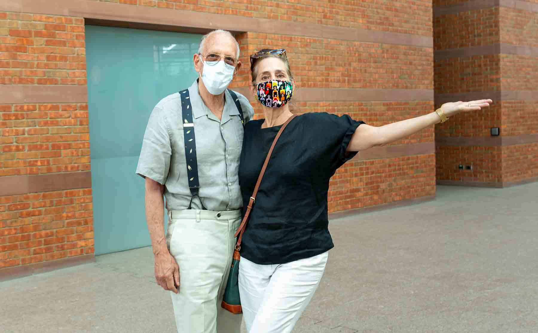 Emily and Bob Wolfe of Gloucester were the first to arrive when PEM reopened Thursday, July 16.