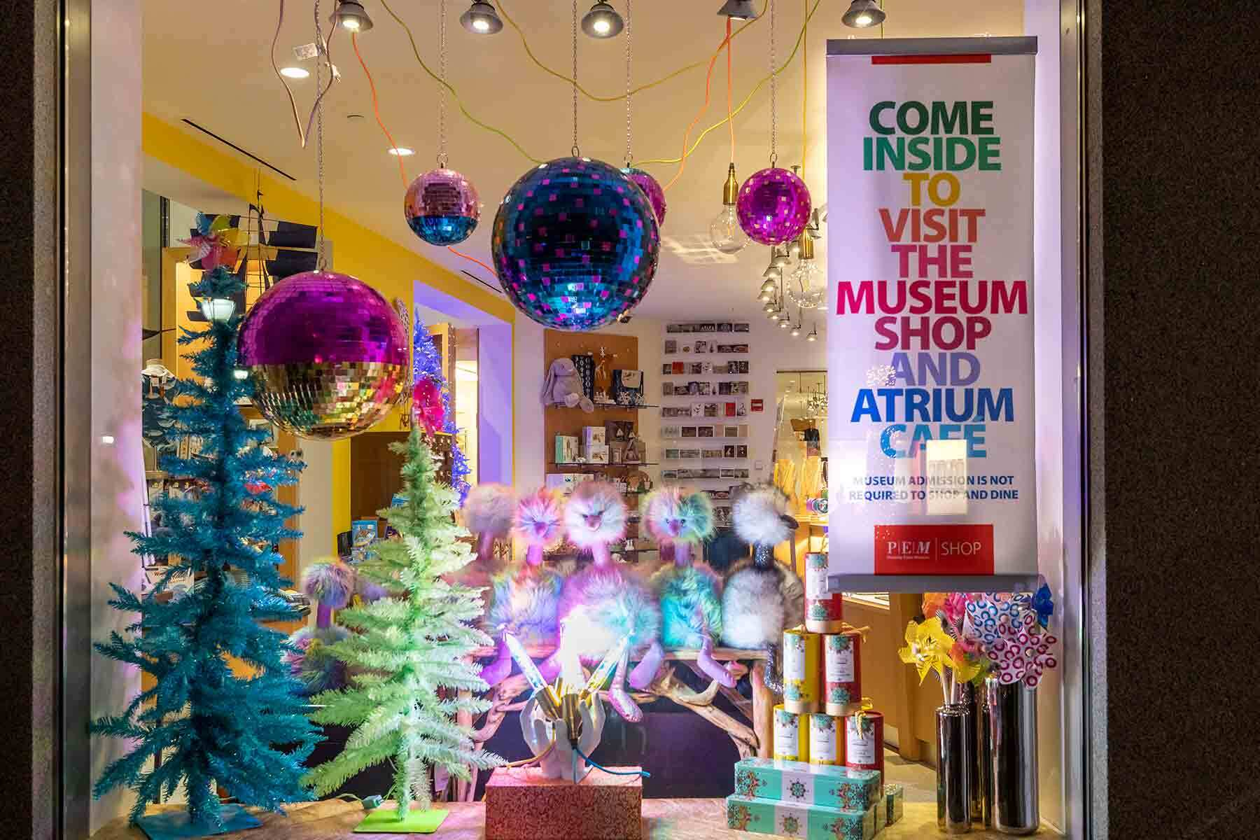 The PEM shop windows decorated with ornaments