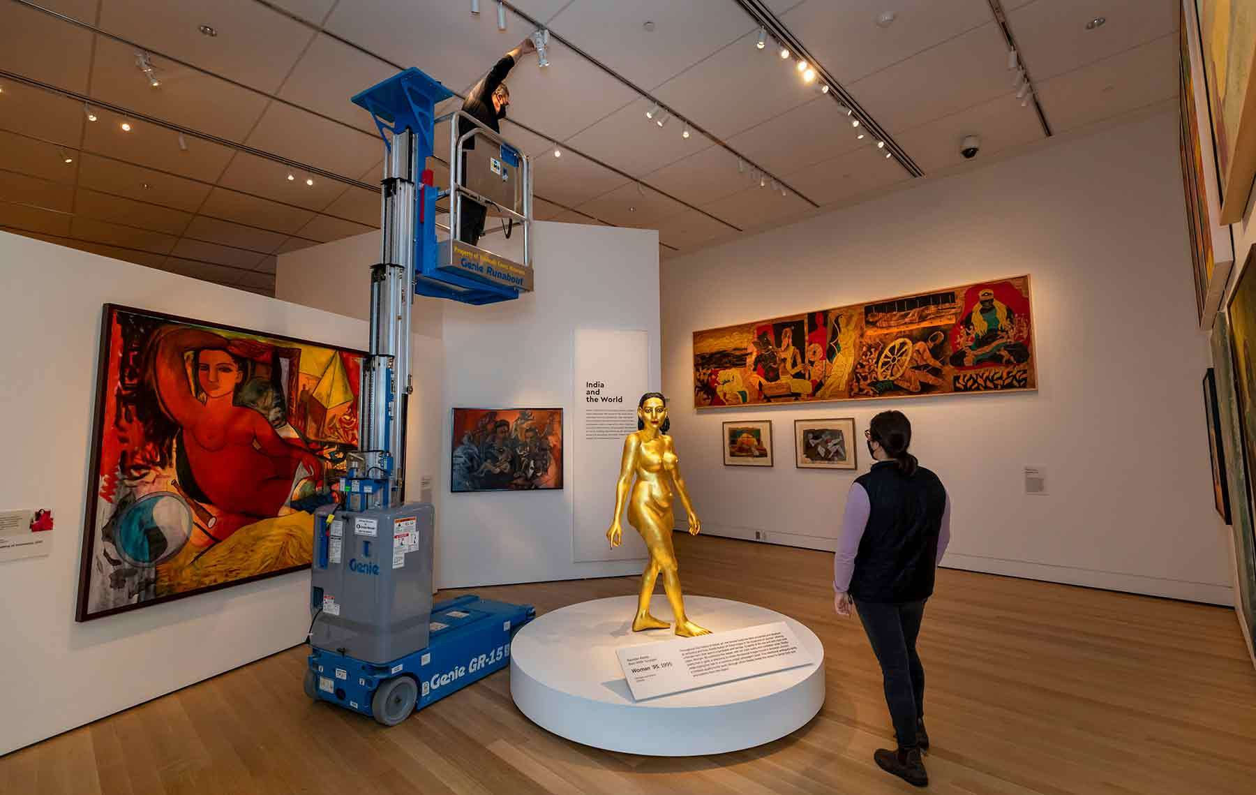 The South Asian Art Gallery displays brightly colored paintings and three dimensional objects. Photo by Kathy Tarantola/PEM.