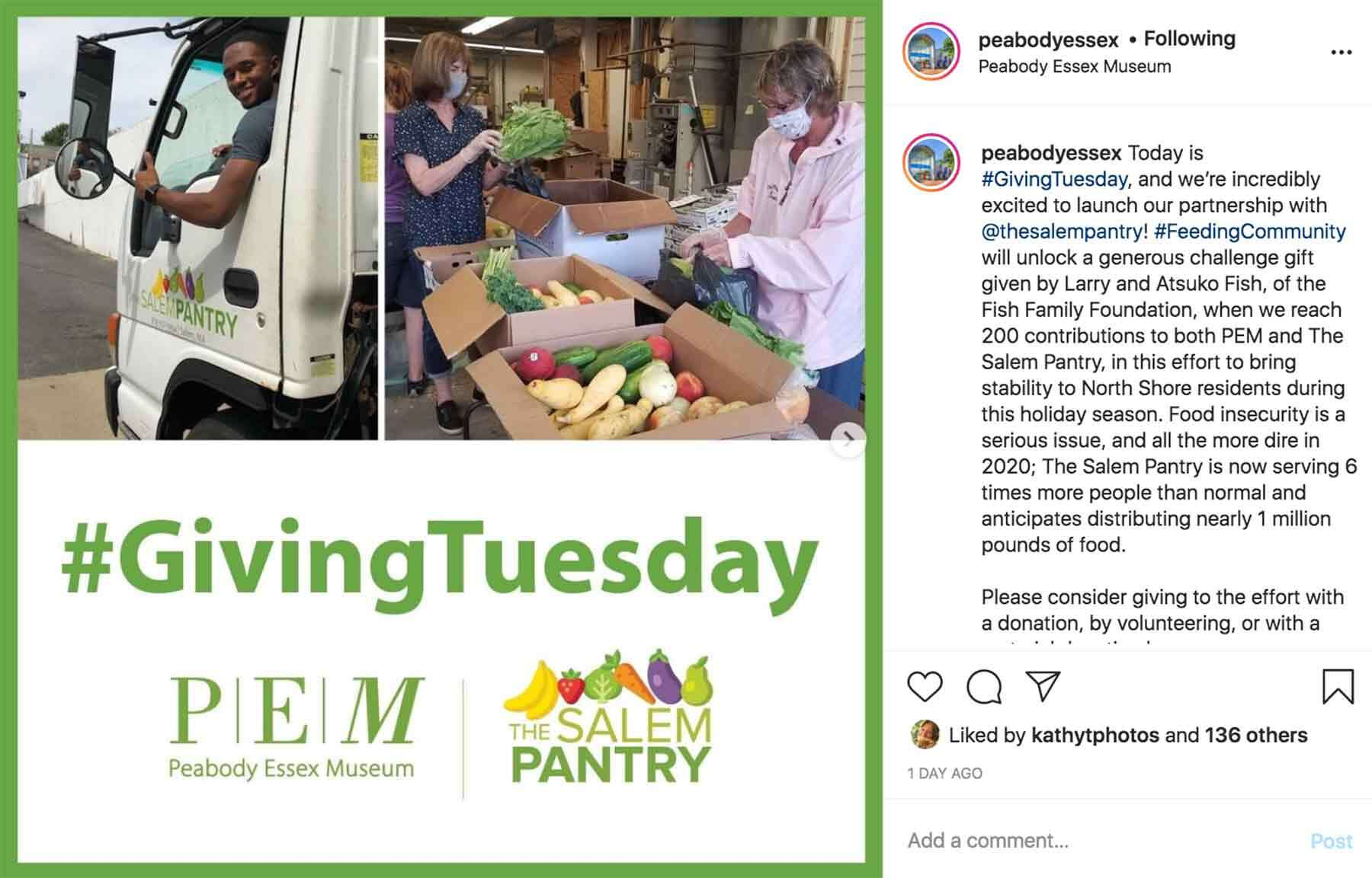 An instagram photo of people delivering food with #hashtag GivingTuesday