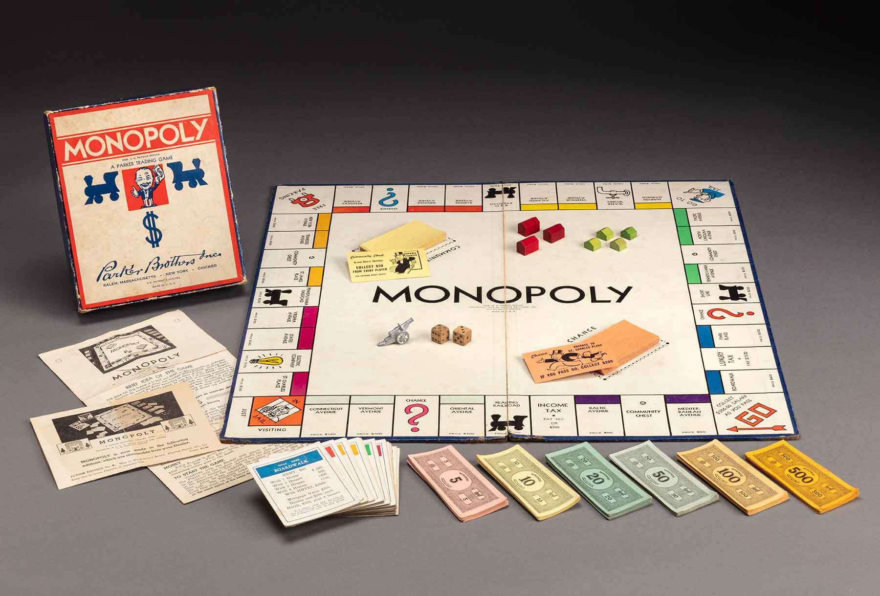 Monopoly, about 1940, Paper, paperboard and wood.