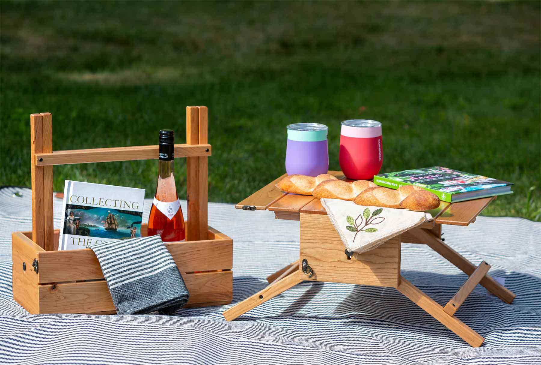 A picnic set out on a white blanket