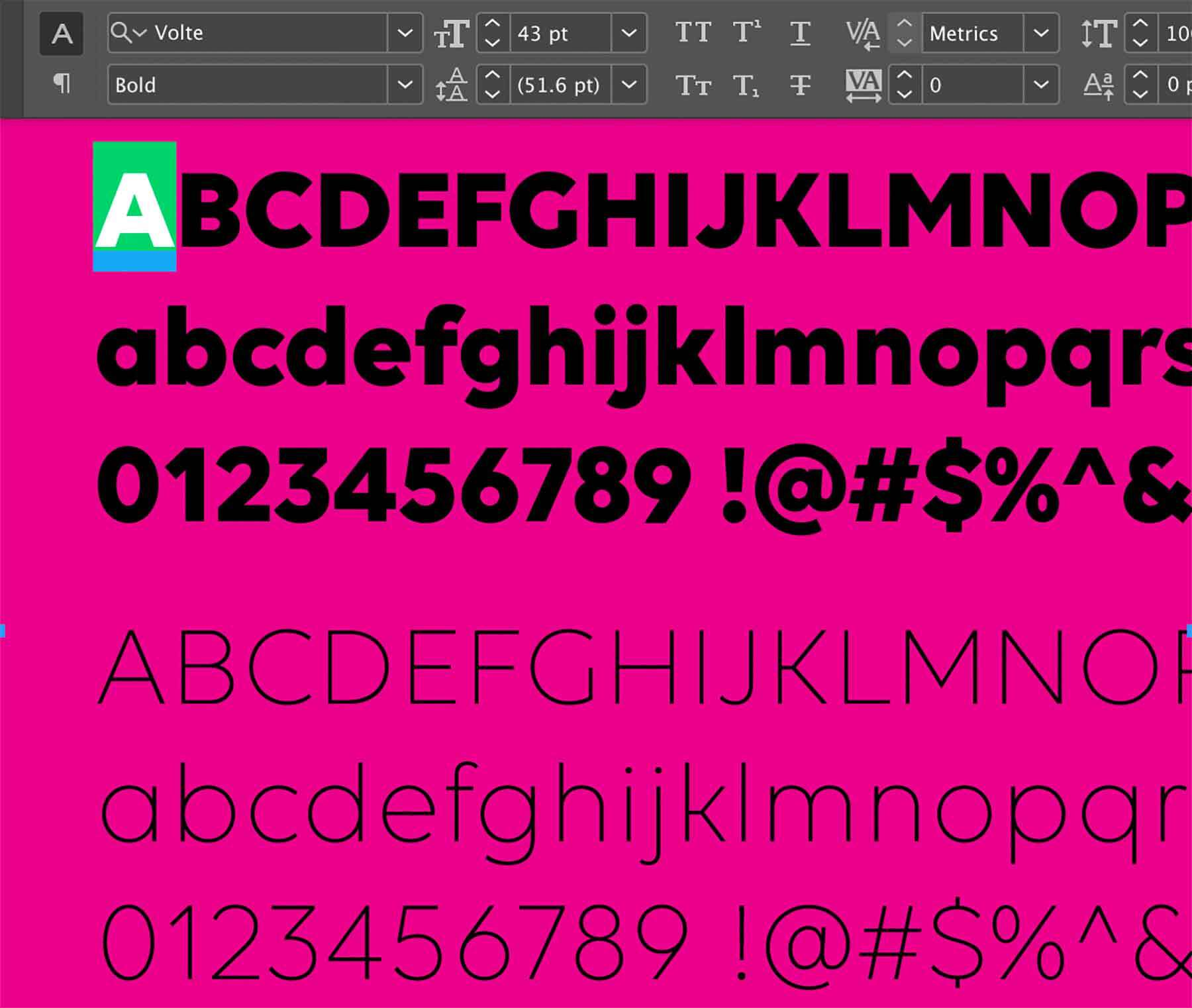 The Volte font family the author discovered while working on the exhibition.