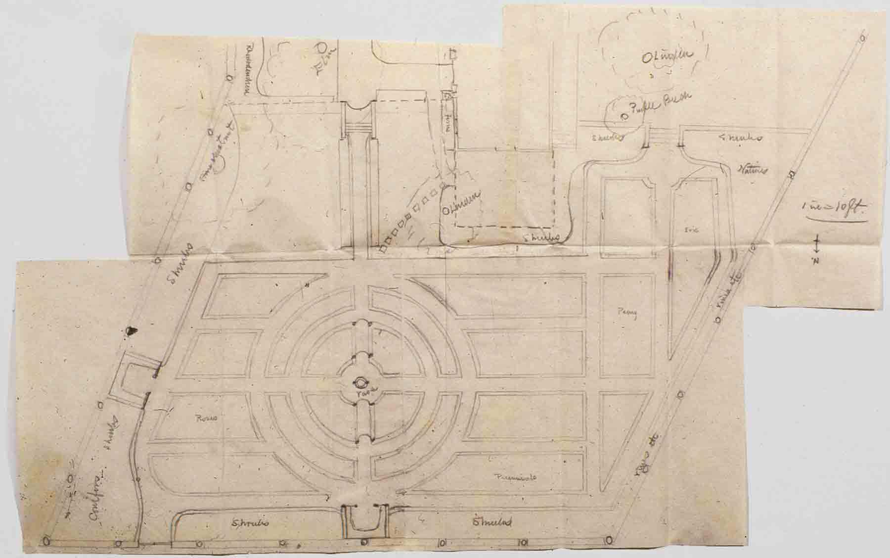 Attributed to John Robinson (designer), Garden Plan of the Ropes Mansion, undated. Pencil and paper. Trustees of the Ropes Memorial Records. MSS 191. Peabody Essex Museum.