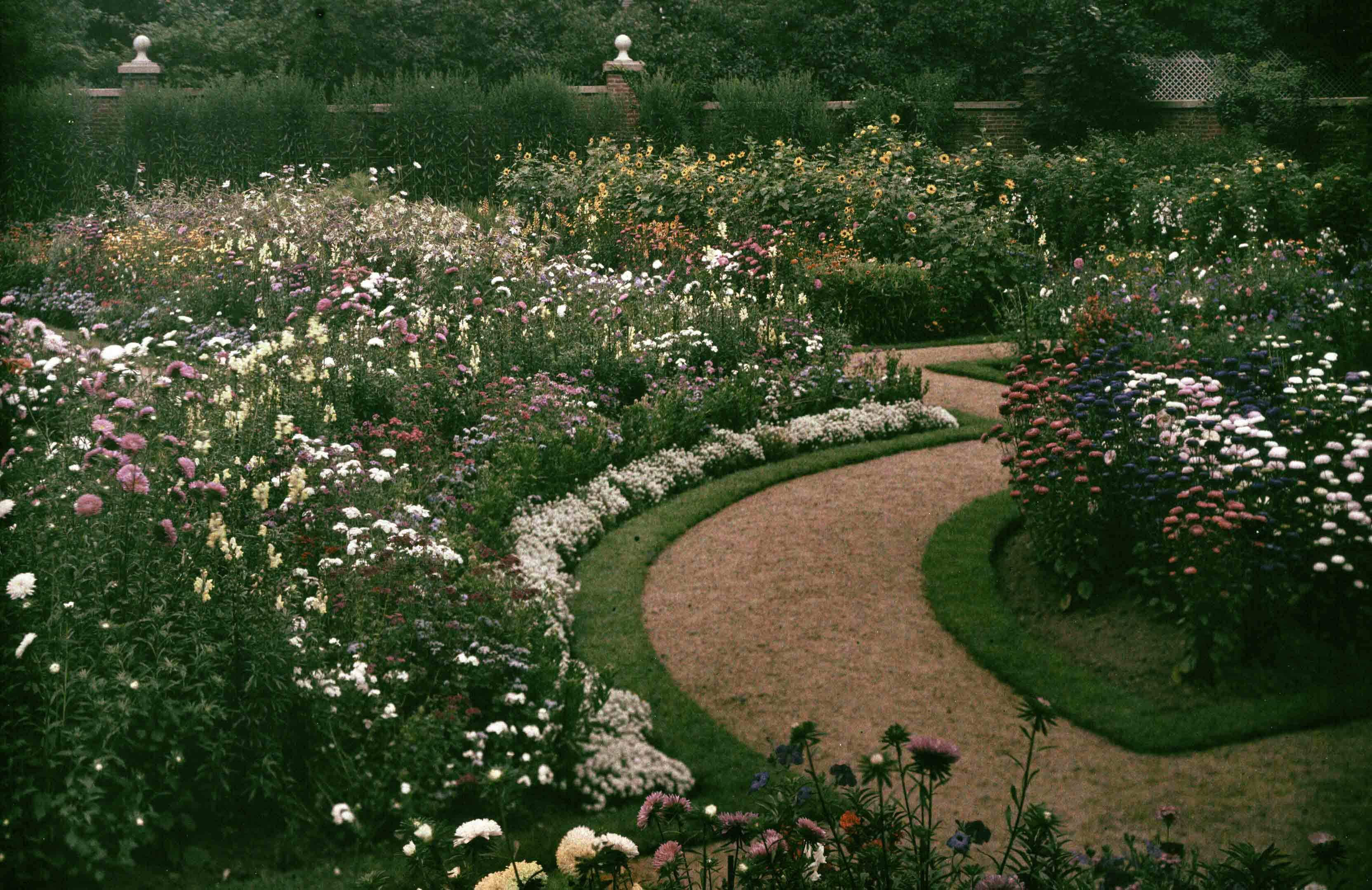 """View of the Garden at the Ropes Mansion"" photographed 1915. Autochrome. Ropes Mansion Collection. Peabody Essex Museum."