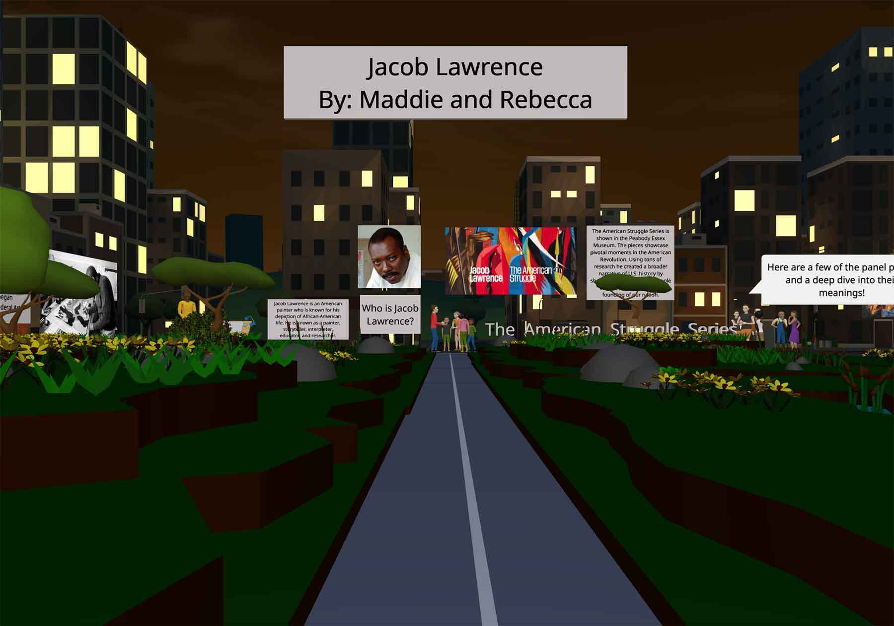 A screen image of a Virtual Reality experience. A streetleading to tall buildings with billboards filled with text and paintings