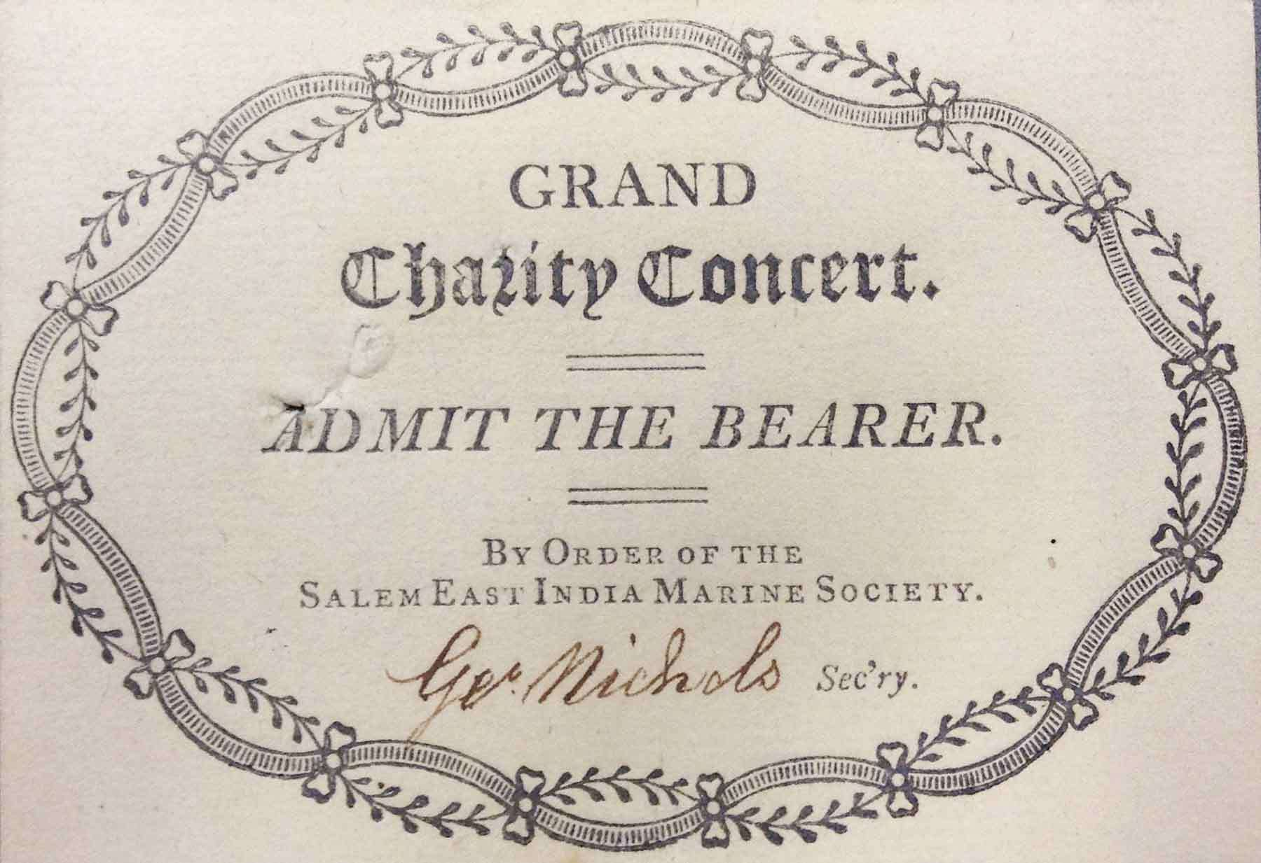"Thomas C. Cushing, Ticket for ""Grand Charity Concert,"" 1809. Printed paper."