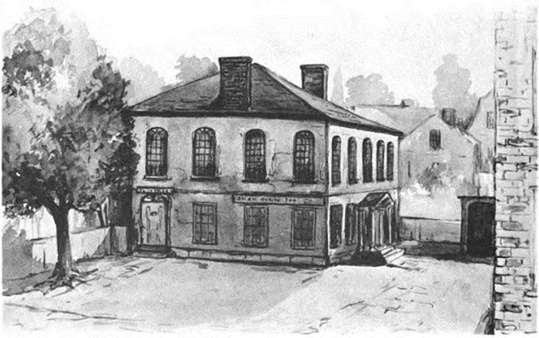 Mary Mason Brooks, Salem Bank Building about 1804–1825, about 1888. India ink on paper