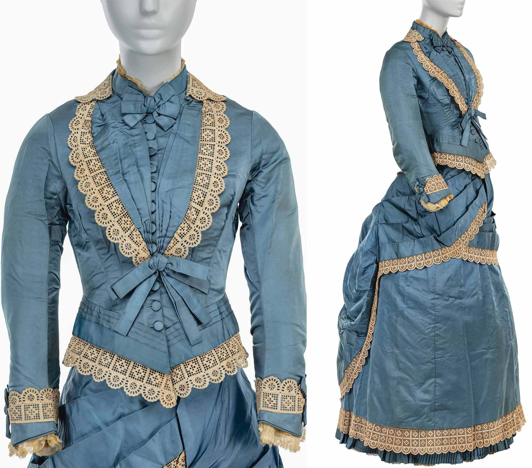 Blue dress made of silk with cotton lace neck and cuffs, made by Maria Theresa Baldwin Hollander