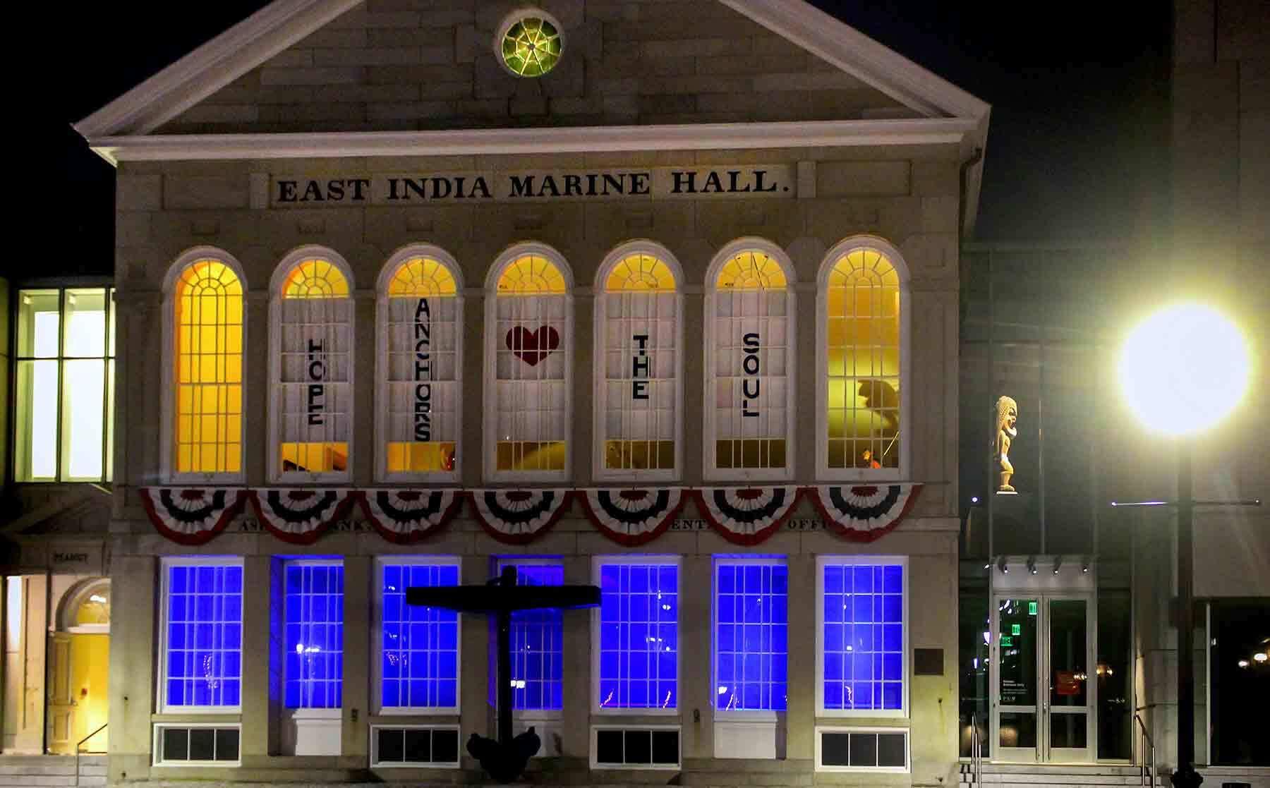 East Indoa Marine Hall exterior at night