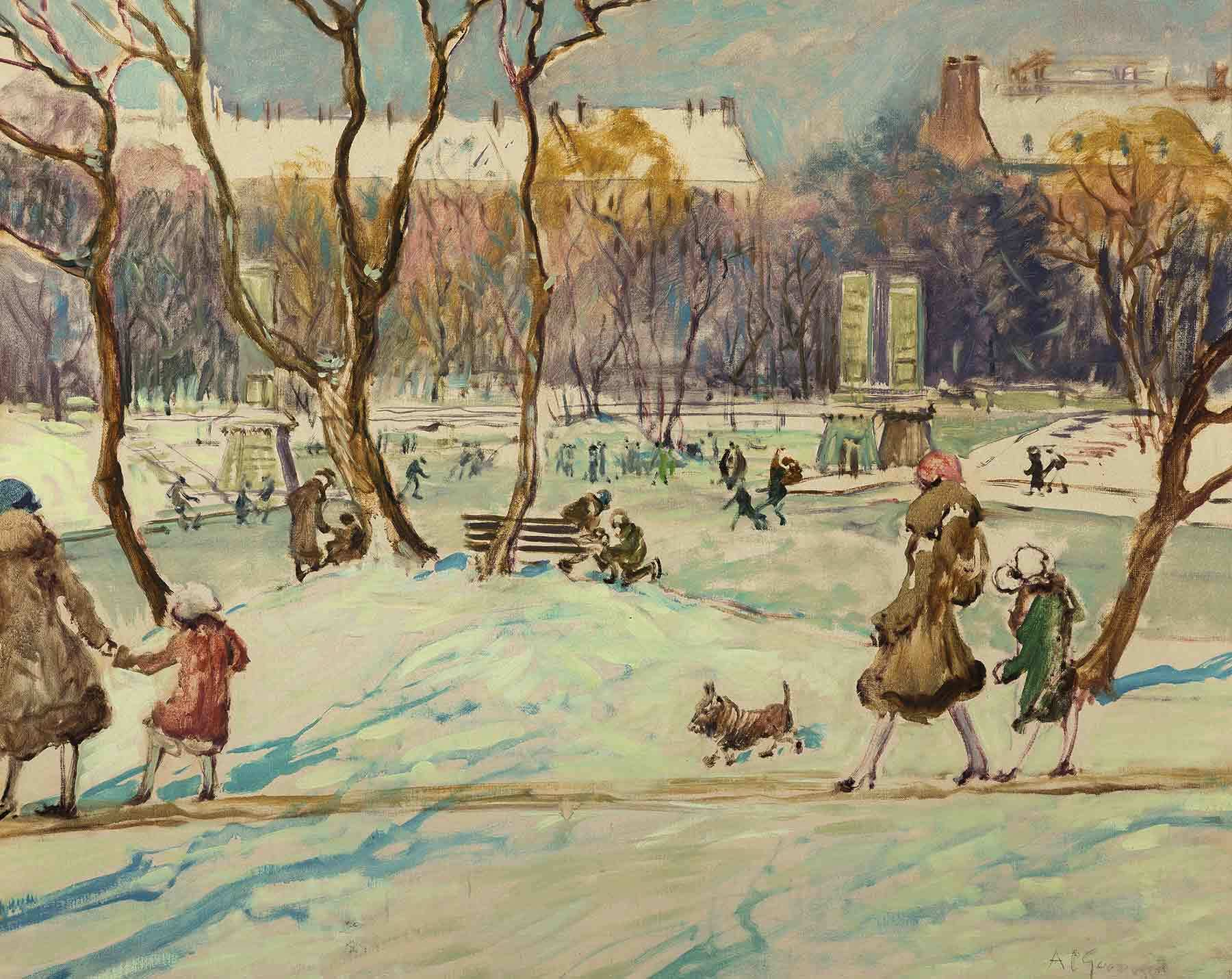 A painting of the Boston Public Garden in Winter, 1930s. Oil on canvas