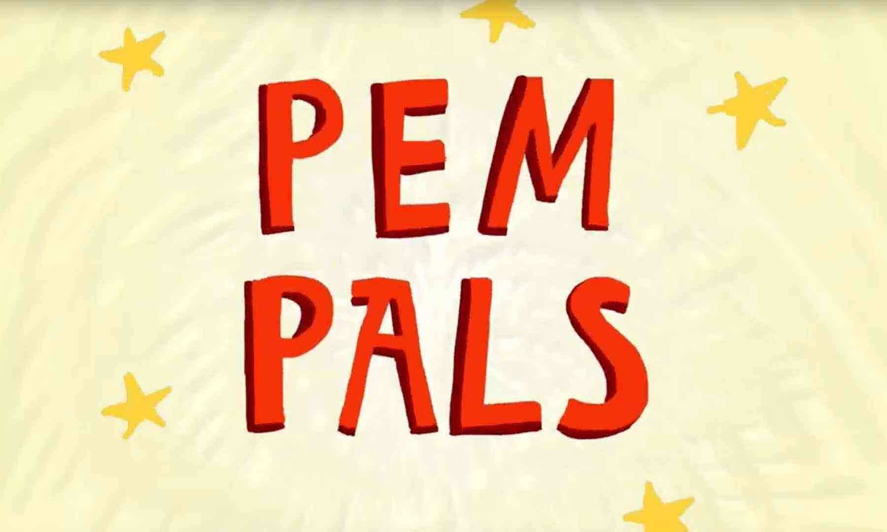 PEM PALS words on a yellow background
