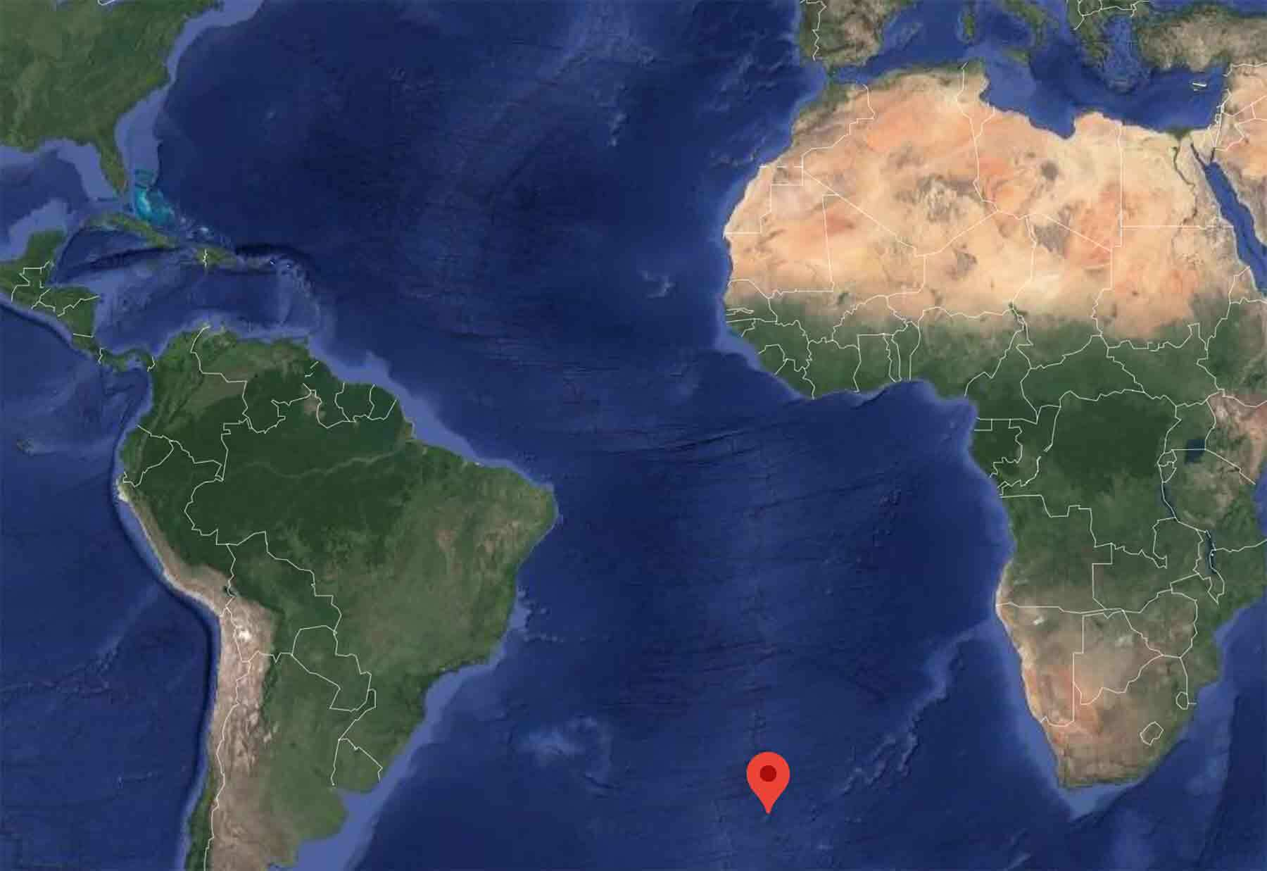 A Google Maps view of Tristan da Cunha with a red pin marking a spot in the ocean.