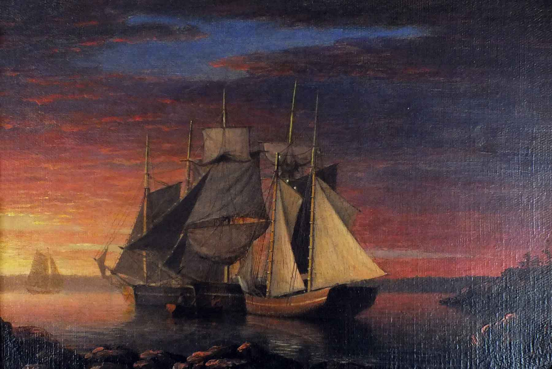Square A painting of a ship on the ocean with a pink and purple sunset. Rigged Ships Anchored at Sunset, about 1850. Oil on canvas.
