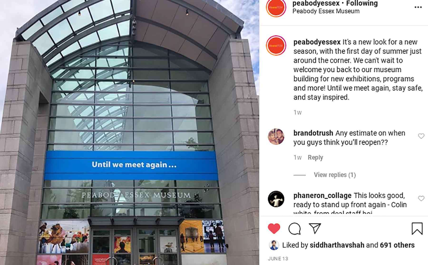 Instagram shot of the museum entrance and comments