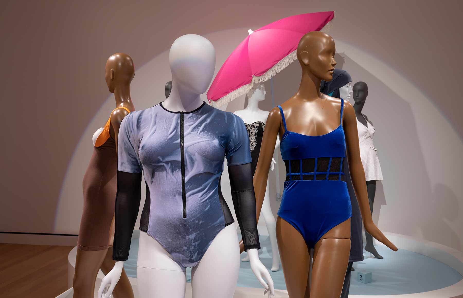 The two swimsuits designed by Becca McCharen-Tran on view in Made It and now part of the PEM fashion collection.
