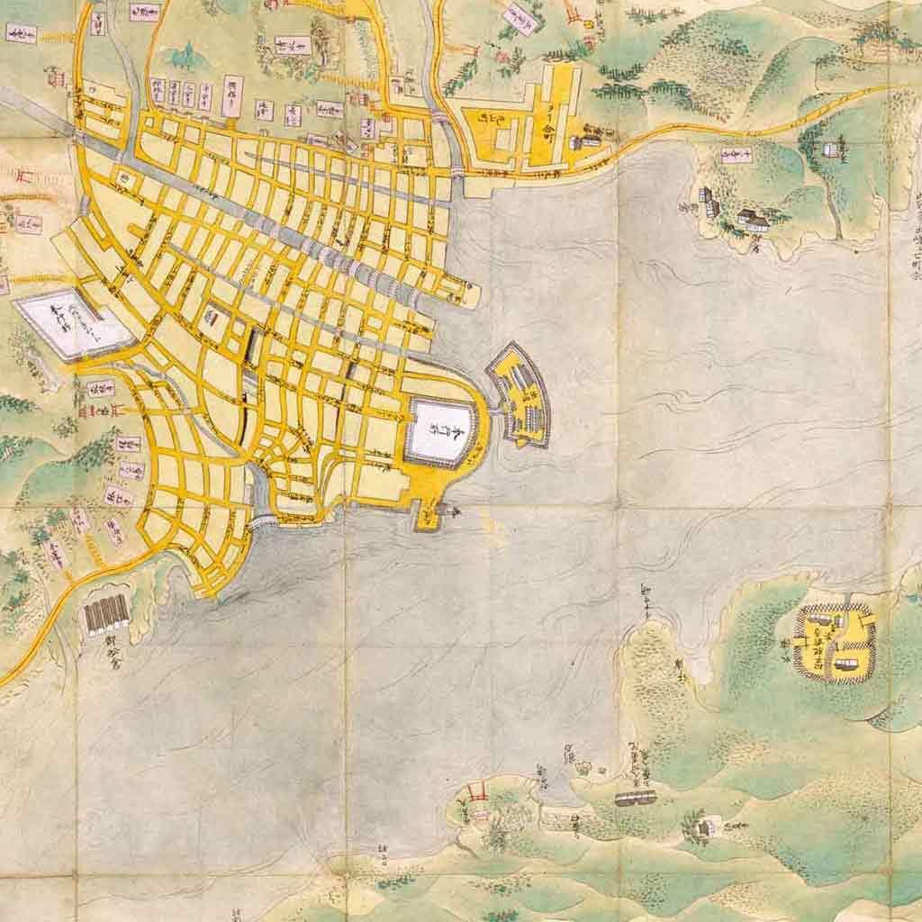 Map of Nagasaki, Hizen Province, Japan
