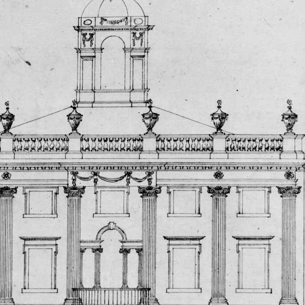 Study for the front elevation of Derby Mansion